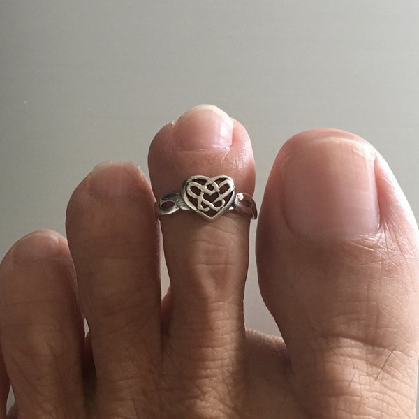 Sterling Silver Celtic Heart Toe Ring, Silver Ring, Heart Ring