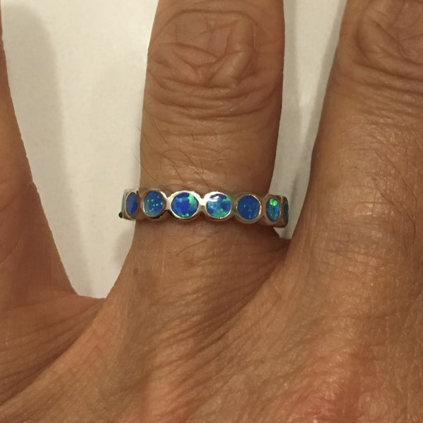 Sterling Silver Stackable Blue Lab Opal Wedding Band Ring