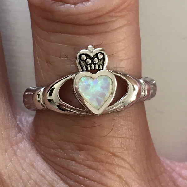 Sterling Silver White Lab Opal Claddagh Ring