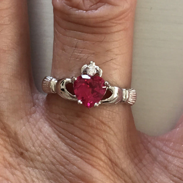 July Birthstone Sterling Silver Claddagh with Ruby CZ Heart Ring