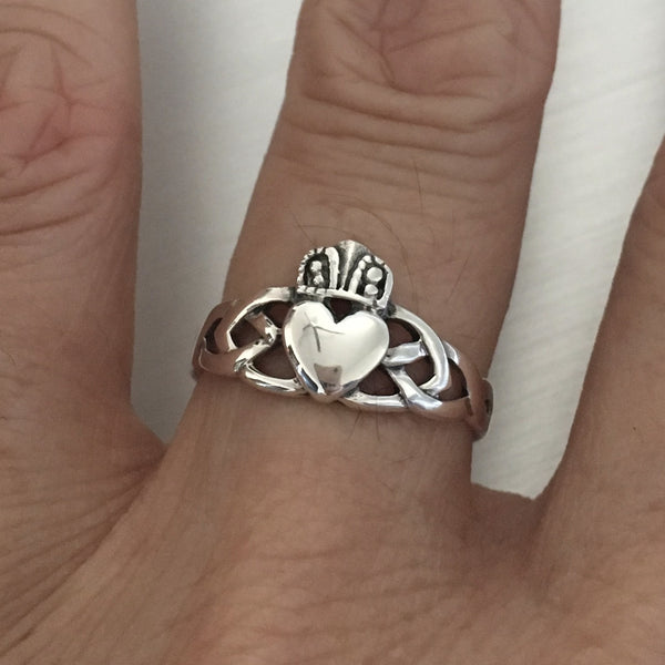Sterling Silver Claddagh Celtic Ring, Loyalty Ring, Silver Ring, Boho Ring, Friendship Ring