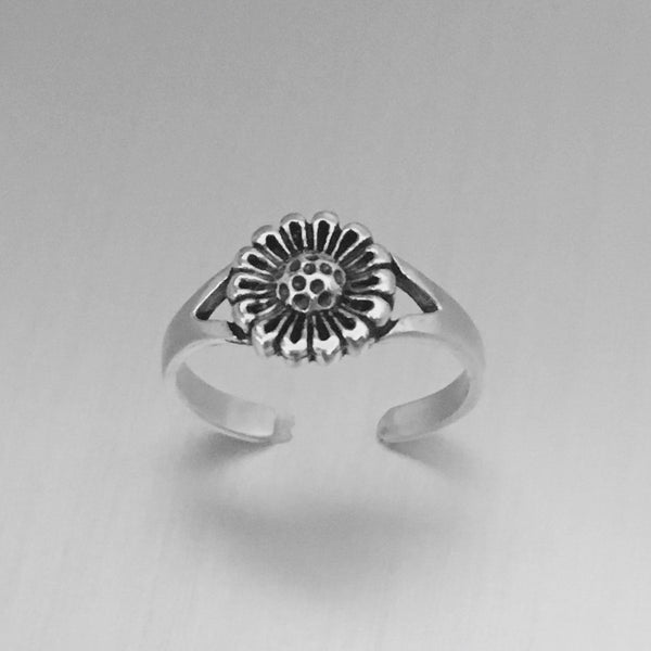Sterling Silver Sunflower Toe Ring, Flower Ring, Silver Ring