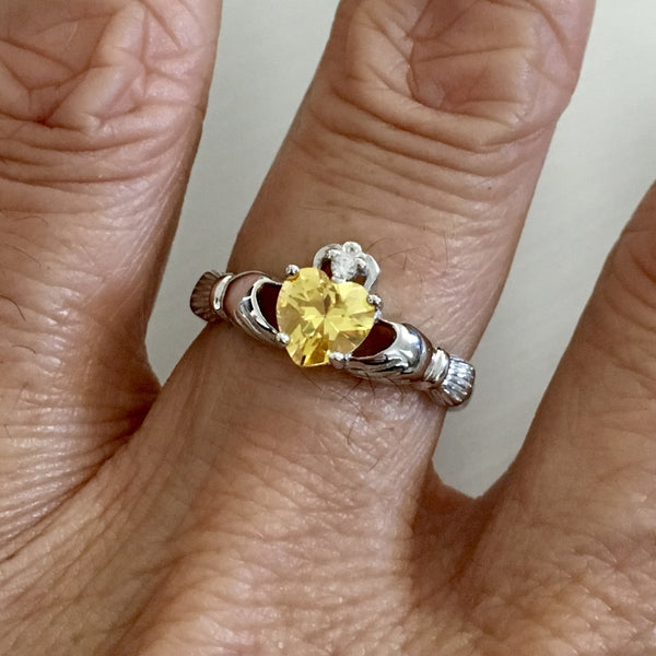 Sterling Silver Claddagh with Yellow Topaz CZ Heart Ring