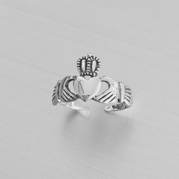 Sterling Silver Adjustable Claddagh Heart Rope Toe Ring