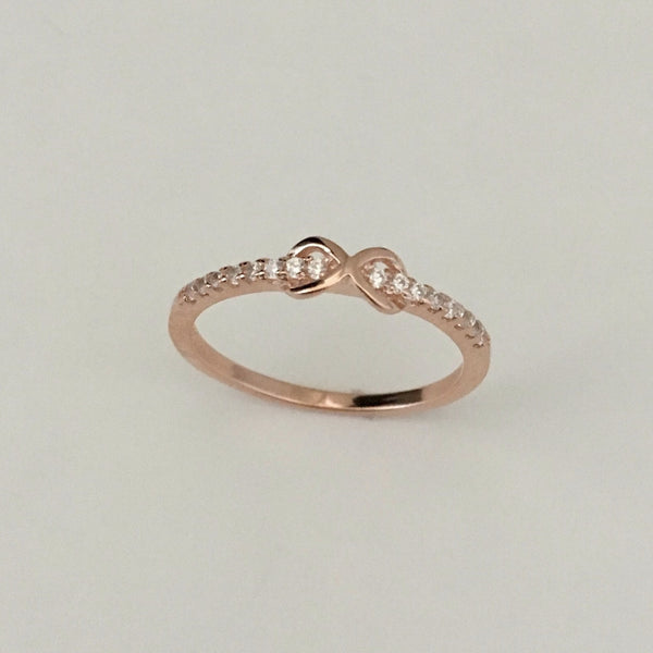 Rose Gold Plated Sterling Silver CZ Infinity Ring, CZ Ring, Love Ring, Promise Ring