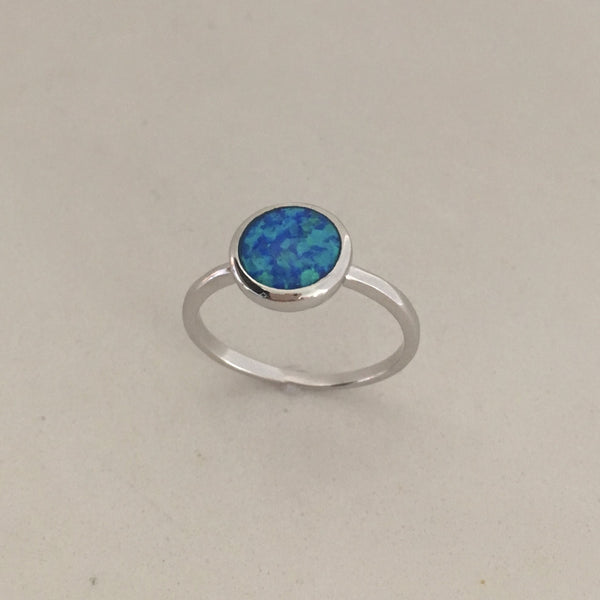 Sterling Silver Round Blue Lab Opal Ring, Silver Ring, Opal Ring, Boho Ring