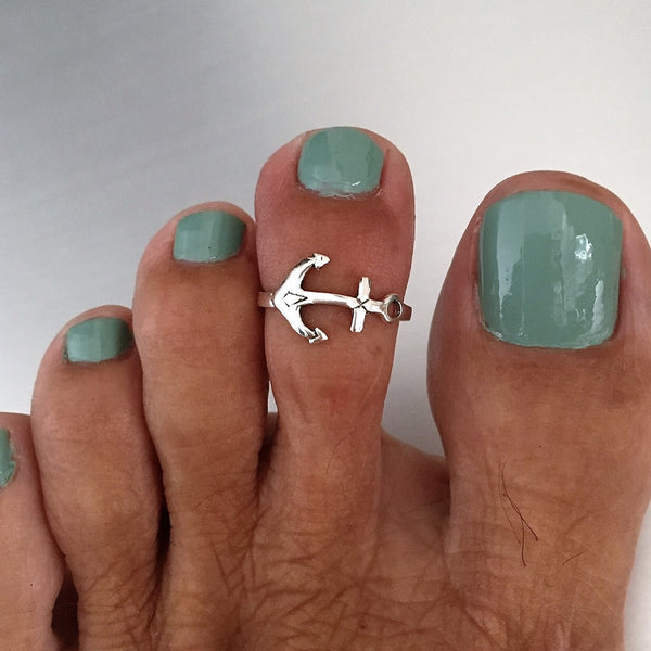 Sterling Silver Anchor Toe Ring, Silver Ring