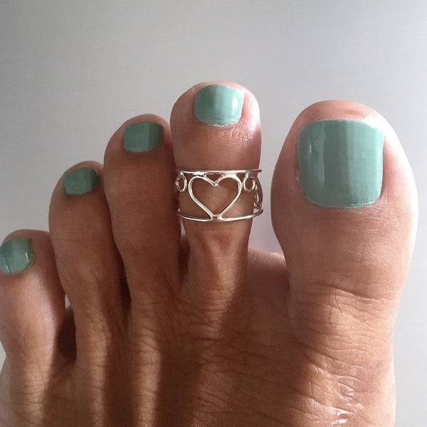 Sterling Silver Adjustable Wire Wrap Heart Toe Ring, Boho Ring, Silver Ring, Love Ring