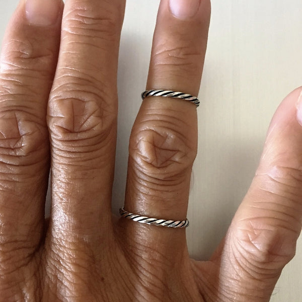 Sterling Silver Stackable Twist Ring, Silver Ring, Rings