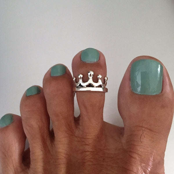 Sterling Silver Adjustable Crown Toe Ring