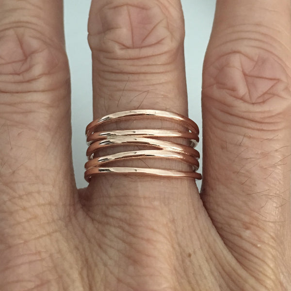 Rose Gold Plated Sterling Silver Wrapped Ring, Silver Ring, Wide Band, Boho Ring