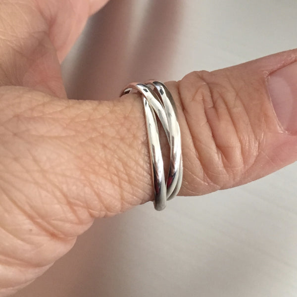 Sterling Silver 3 Connected Band Ring, Silver Rings, Silver Bands