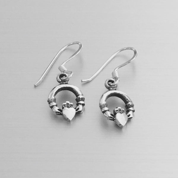 Sterling Silver Small Claddagh Earrings