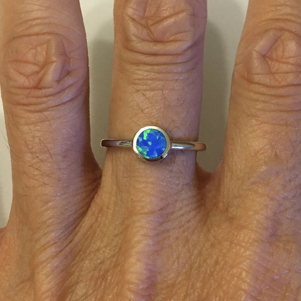 Sterling Silver Small Round Blue Lab Opal Ring, Dainty Ring, Silver Ring, Opal Ring