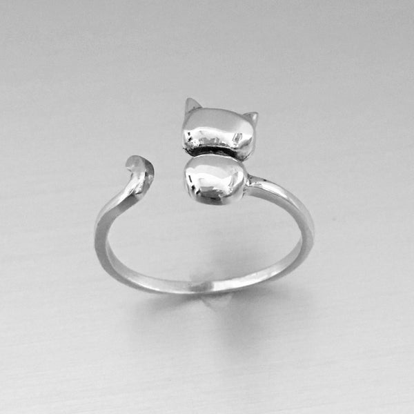 Sterling Silver Cat Ring, Kitty Cat Ring, Animal Ring, Silver Rings