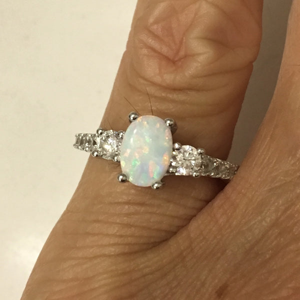 Sterling Silver White Lab Opal with CZ Ring