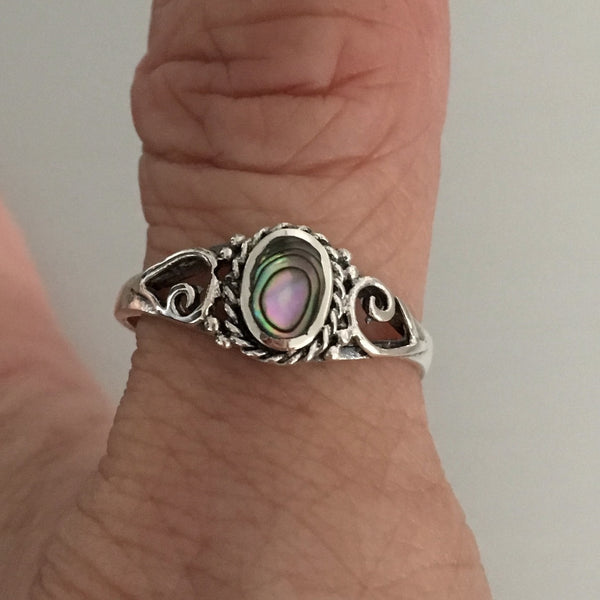 Sterling Silver Abalone Stone Ring with Swirl, Silver Ring, Rings