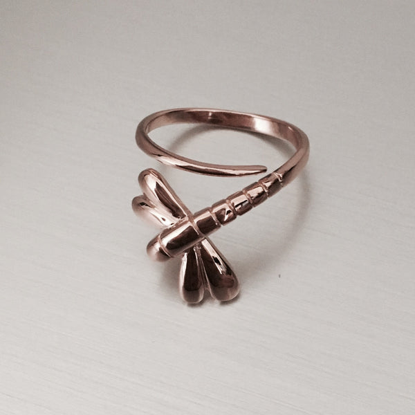 Rose Gold Plated Sterling Silver Dragonfly Ring