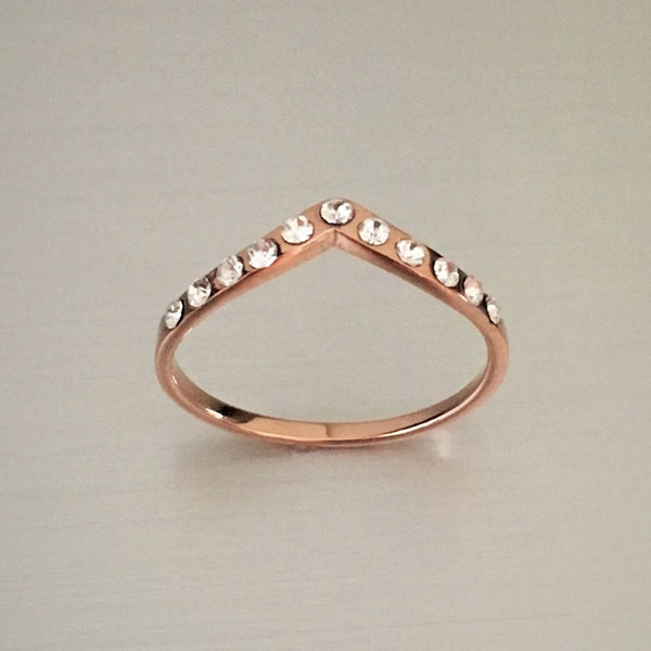 Rose Gold Plated Sterling Silver Chevron CZ Ring, Silver Ring