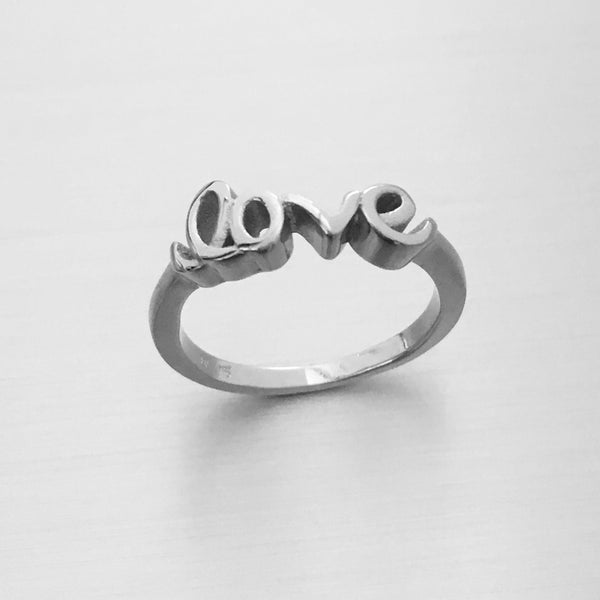 Sterling Silver LOVE Ring, Silver Ring