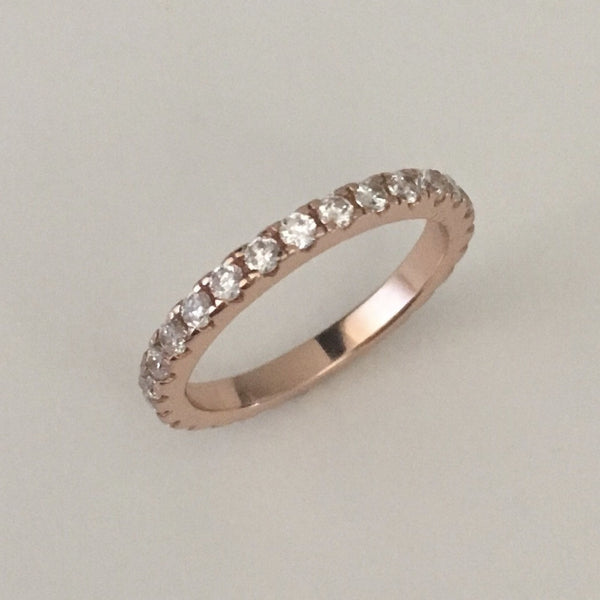 Rose Gold Plated Sterling Silver Eternity CZ Ring, Wedding Band, Silver Ring, Silver Band