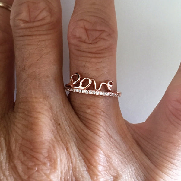 Rose Gold Plated Sterling Silver CZ LOVE Ring, Silver Ring, CZ Ring