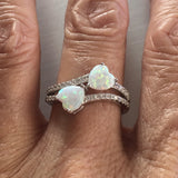 Sterling Silver White Lab Opal Double Heart Ring with CZ
