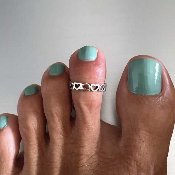 Sterling Silver Endless Inverted Heart Toe Ring