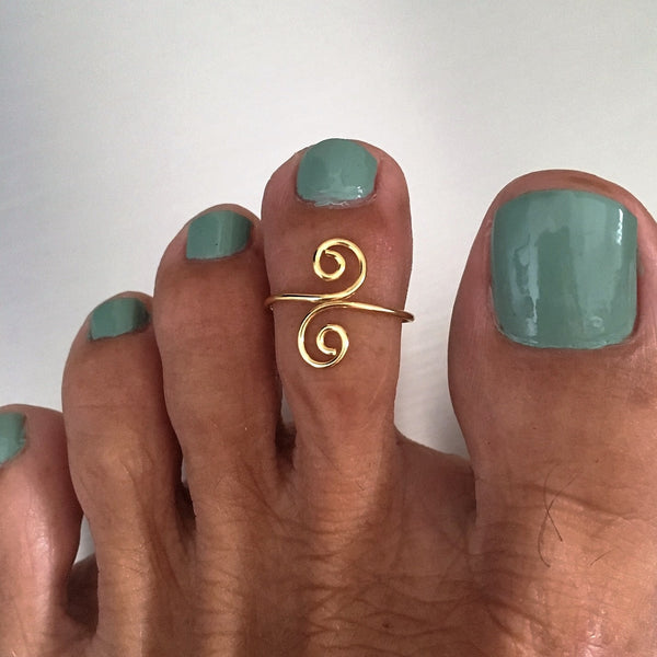 Gold Over Sterling Silver Swirl Toe Ring, Midi Ring, Gold Ring, Silver Ring, Swirl Ring
