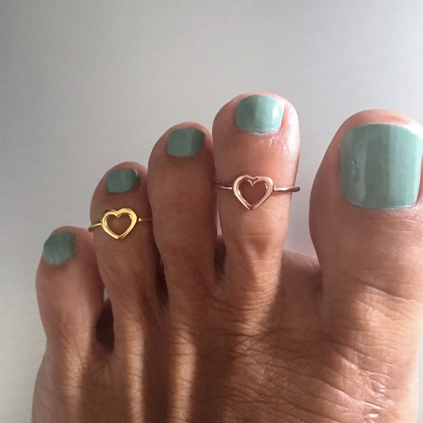 Rose Gold Over Sterling Silver Heart Toe Ring, Silver Rings, Heart Ring