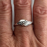 Sterling Silver Small Angel Wing Ring