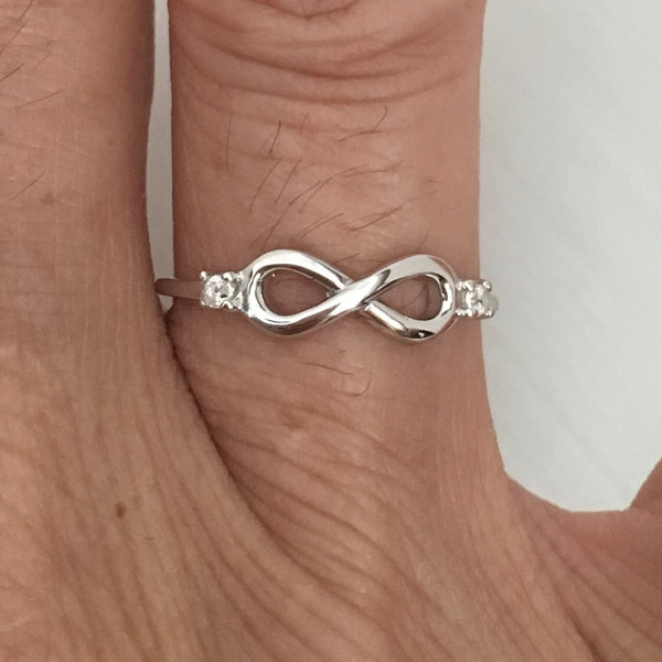 Sterling Silver Small Infinity with CZ Ring