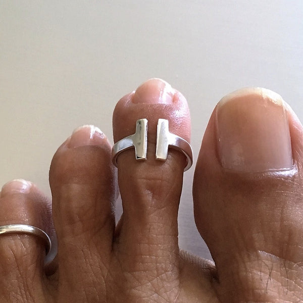 Sterling Silver Adjustable Open Bar Toe Ring, Boho Ring, Silver Ring