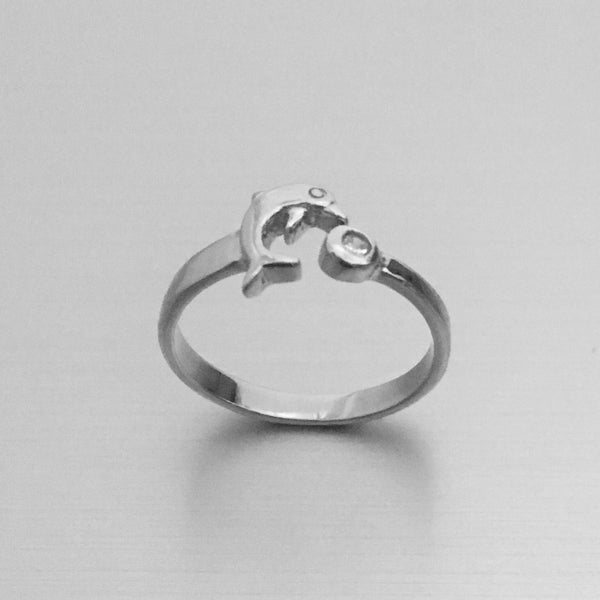 Sterling Silver Dolphin Toe Ring with CZ,  Silver Ring, CZ Ring, Ocean Ring