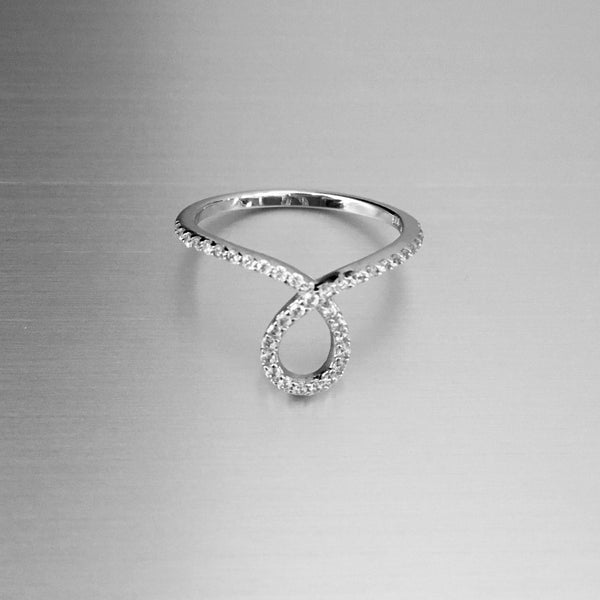 Sterling Silver Fashionable CZ Loop Ring