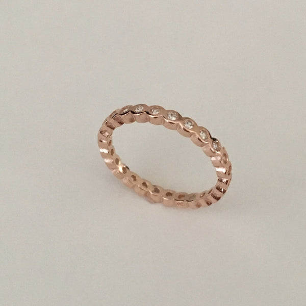Rose Gold Plated Sterling Silver Eternity CZ Ring, Silver Ring, Wedding Band, Silver Band
