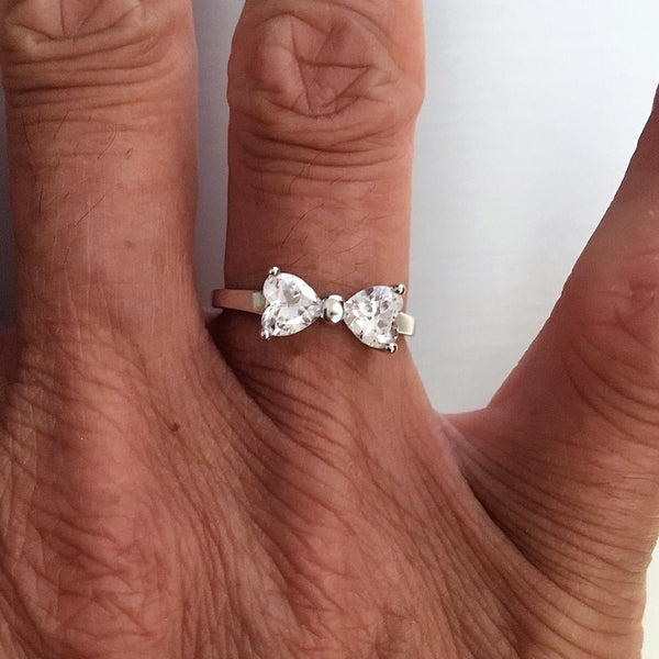 Sterling Silver CZ Bow Heart Ring