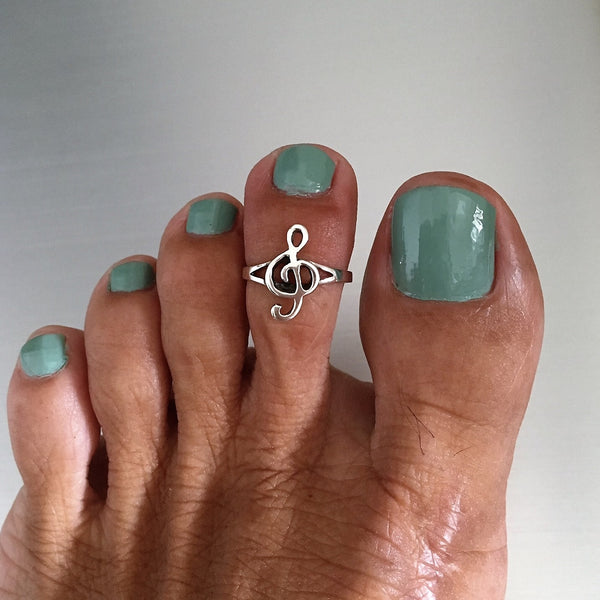 Sterling Silver Adjustable Music Note Toe Ring