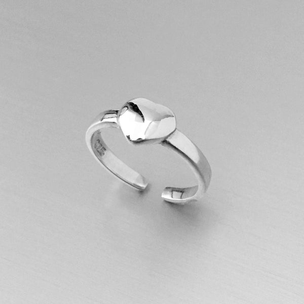 Sterling Silver Solid Heart Toe Ring, Silver Ring, Rings