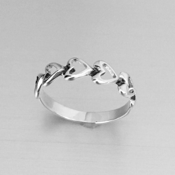Sterling Silver Sideway Hearts Ring, Silver Ring, Rings