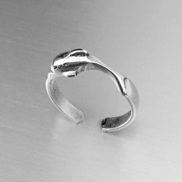 Sterling Silver Dolphin Toe Ring, Adjustable Ring, Silver Ring, Rings