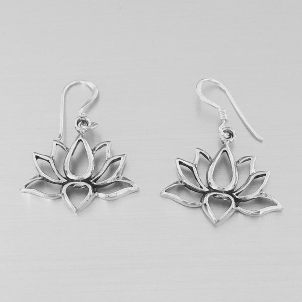 Sterling Silver Open Lotus Dangle Earrings, Flower Earrings, Silver Earrings, Boho Earrings