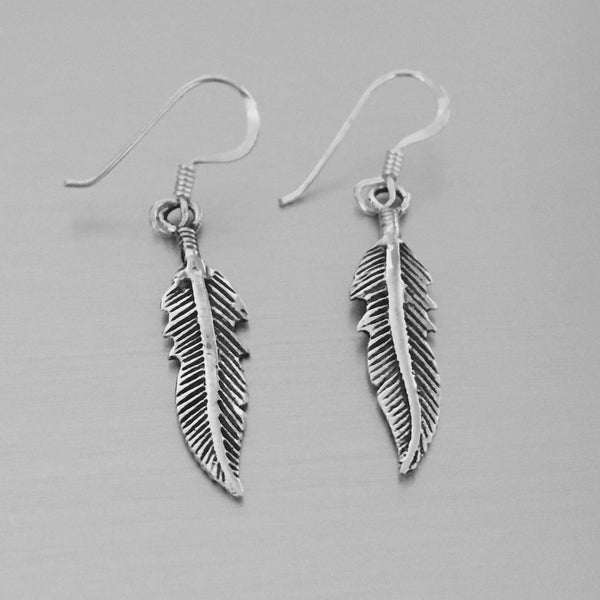 Sterling Silver Dangle Feather Earrings, Religious Earrings, Silver Earrings, Bird Earrings