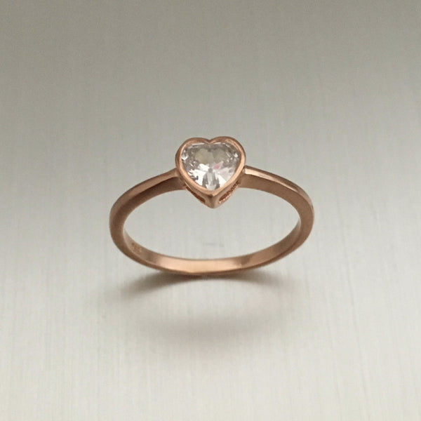 Rose Gold Plated Sterling Silver Heart CZ Ring, Heart Ring, Silver Ring, Love Ring
