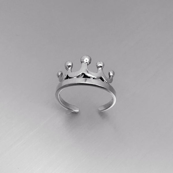 Toe Rings Fashion Jewelry Crown Sterling Silver Adjustable Toe Ring