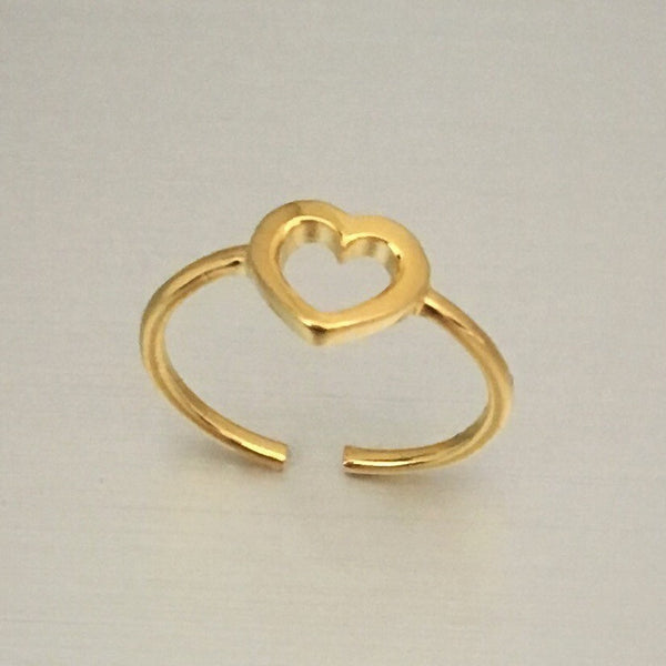 Gold Over Sterling Silver Heart Toe Ring, Silver Ring, Gold Ring, Heart Ring
