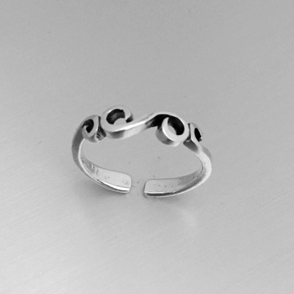 Sterling Silver Adjustable Swirl Toe Ring, Boho Ring, Silver Ring