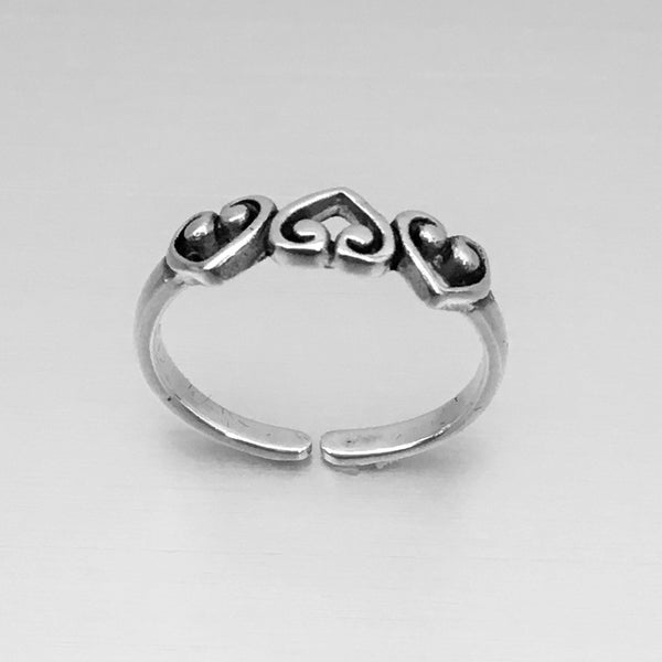Sterling Silver Three Hearts Toe Ring, Silver Ring, Rings, Hearts