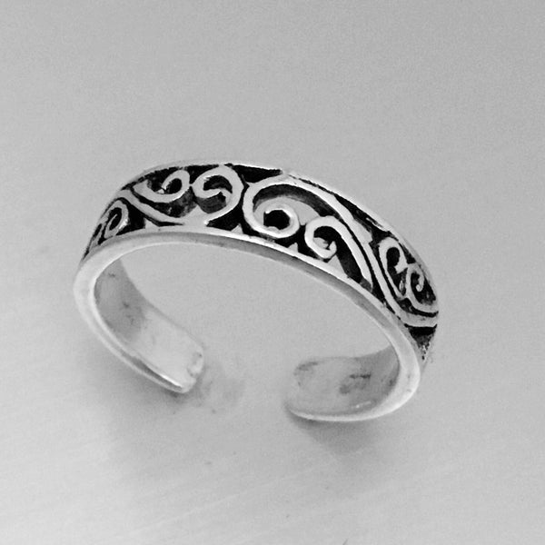 Sterling Silver Adjustable Victorian Swirl Toe Ring, Boho Ring, Silver Ring