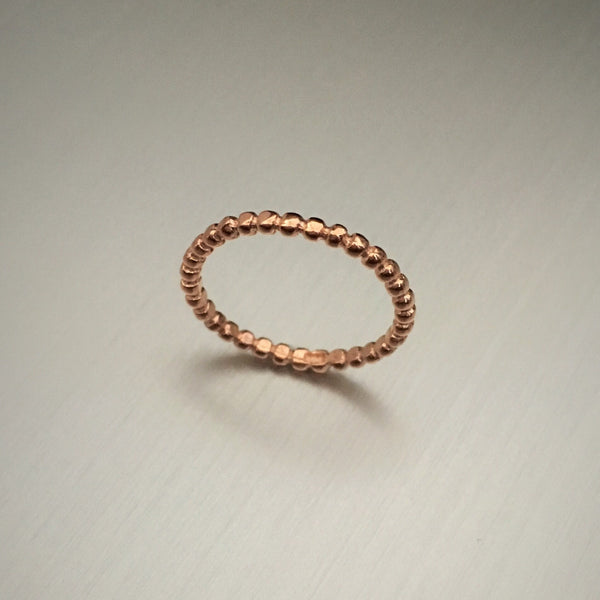 Rose Gold Over Sterling Silver Bead Ring, Stackable Ring, Silver Rings